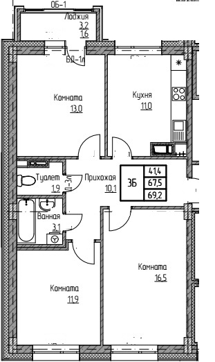 мкр Полярный 3ком общ69.5 кв24