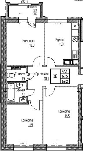 мкр Полярный 3ком общ69.5 кв44