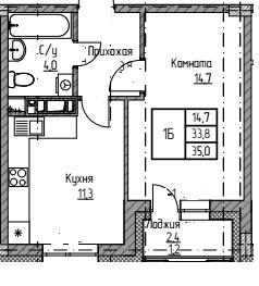мкр Полярный 1ком 8э общ35 кв265